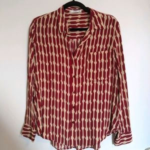 MANGO red and beige print shirt size 6/M